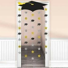 Graduation Decorations 60834 Amscan Make a memorable entrance when you walk through this Graduation Cap Doorway Curtain. Mount the lightweight cardboard graduation cap to the top of the doorway and let the strings with foil cutouts rain down. Outdoor Graduation Parties, Graduation Party Planning, College Graduation Parties, Graduation Banner, Graduation Party Supplies, Graduation Celebration, Graduation Ideas, Graduation Caps, Grad Parties