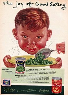 1953 Stokeley's Canned Vegetables Ad - Van Camps Pork & Beans - Green Beans - Wall Art - Kitchen Decor - Retro Vintage Food Advertising