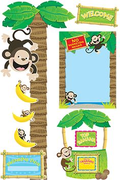 Monkey Business Star Student (Top Banana)Monkey Business Bulletin Board Set $11.99 use embellishments for around the doors and windows and construction bulletin board