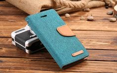 iPhone Cloth and Leather Flip Wallet Stand Case