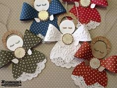Decoration on Christmas tree Stampin Up Christmas, Christmas Paper, Christmas Angels, Crochet Christmas, Angel Crafts, Christmas Projects, Holiday Crafts, Stampin Up Weihnachten, Gift Bows