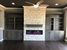 Fireplace Bookcase, Living Room Bookcase, Fireplace Built Ins, Fireplace Remodel, Fireplace Ideas, Fireplace Feature Wall, Linear Fireplace, Basement Family Rooms, Family Room Walls