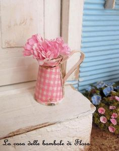 Gingham lovely pitcher with flowers  1/12 dolls by FloraDollhouse