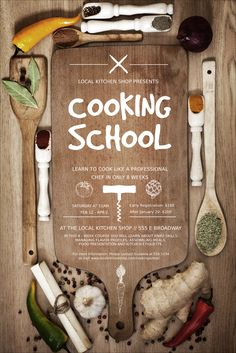 Cooking School Logo Flyer | Cooking Classes | Cooking ...