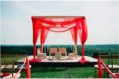 35 Incredibly Creative Ways To Add Color To Your Wedding - Frame the ceremony site in a bold, vibrant hue