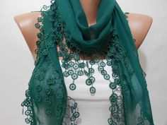SOFT Cotton Emerald Green Scarf Shawl Cowl Scarf with by ScarfClub