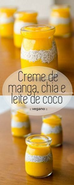 Creme de manga e chia Easy and vegan recipe! Mango cream, chia and coconut milk, with few ingredients and lots of flavor! The cream of coconut and chia has a wonderful texture and combined with the fresh flavor of mango becomes a healthy dessert! Healthy Pasta Recipes, Raw Food Recipes, Healthy Cooking, Sweet Recipes, I Love Food, Good Food, Yummy Food, Vegan Sweets, Vegan Desserts
