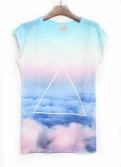 Blue Short Sleeve Cloud Triangle Print T-Shirt