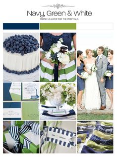 Navy, green and white preppy wedding inspiration board, color palette, mood board via Weddings Illustrated