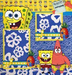 SPONGEBOB-2-premade-scrapbook-pages-paper-piecing-layout-boy-girl-12x12-CHERRY