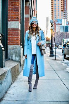 New Winter Color - Asos Baby Blue Coat  // Similar Blue Beanie // Revolve Eyelash Sweater // Rolla's Jeans // Stuart Weitzman 'Highland' Over-The-Knee Boots // Le Specs 'The Prince' Sunglasses // Chloe 'Faye' Medium Bag  January 9th, 2017 by maria