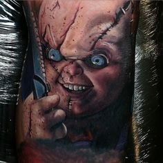 Chucky by @thealexwright at Grindhouse Tattoo Productions in Macclesfield England. #chucky #charlesleeray #brideofchucky #horrortattoo #horrortattoos #thealexwright #grindhousetattooproductions #macclesfield #england #tattoo #tattoos #tattoosnob