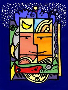 Constellation extérieure... les étoiles plein les yeux pour demain ? dessin au pinceau chinois scanné sur papier pelure et mis en couleur sur ordinateur.