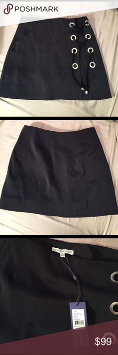 "NWT black Rebecca minkoff lace up skort size 0 New unworn Rebecca minkoff ""Stevie"" skort with rope/grommet laceup. Does not show shorts in back! Really cute!! Rebecca Minkoff Skirts Mini"
