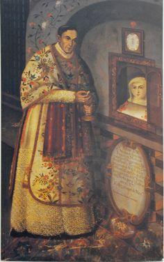 Tomás Xavier de Peralta, Retrato del presbítero don Nicolás de Armenta, capellán de Santa Rosa de Viterbo de Querétaro, óleo sobre tela, sin medidas, 1727, colección: Museo Poblano de Arte Virreinal.