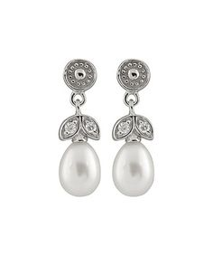 Another great find on #zulily! Pearl & Cubic Zironia Drop Earrings #zulilyfinds