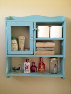 Hanging Bathroom Shelves Entrancing Beachy Blue Medicine Cabinet  Pinterest  Medicine Cabinets