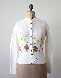 1970's floral cardigan