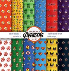 Superhero 24x Digital Paper, Avengers Superhero paper, Scrapbook paper, Superhero background, Marverl heroes - Instant Download May 07, 2015 at 12:55AM