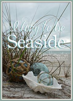 I Long to be SEASIDE *(COASTAL Living Seagrass Vintage Glass Floats Inspirational Quote Beach House Shabby Chic Cottage Photography )