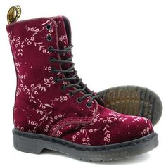 Dr Martens Avery Velvet Blossom Boot (Red)