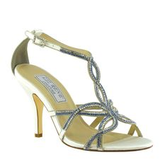 """the """"Maggie"""" shoe in silk satin has that perfect touch of blue for your """"something blue""""! #WeddingShoeInspirations"""