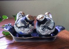 Vintage Moriage Dragonware Salt and Pepper Shakers with Tray
