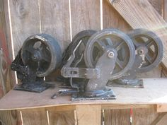 Set of 4 Heavy Duty Swivel Locking Casters with Brake Feature Steel & Rubber #unknown