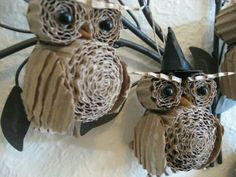 Owls made out of currogated carboard. (Halloween)