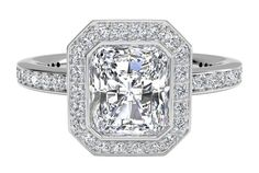 Halo Micropavé Diamond Band Engagement Ring - in Platinum (0.30 CTW) $3,590