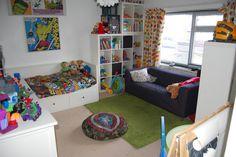 superhero room. Like all the shelves to keep everything organized.
