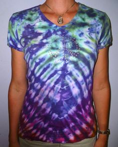 Peace Sign Bling on Rainbow Tie Dyed Shirt by RainforestTropicals