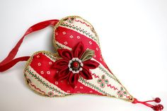 Christmas heart decoration red and green by JoJosArtisticDesign, $24.00