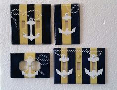Hand painted Nautical wall plate covers Etsy listing at https://www.etsy.com/listing/234982224/nautical-anchor-blue-yellow-stripe