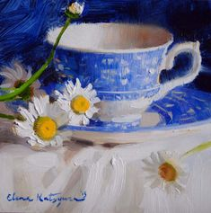 """Blue Transferware Tea Cup Painting ~ Mary Wald's Place - Daily Paintworks - """"Blue April"""" - Original Fine Art for Sale - © Elena Katsyura Tea Cup Art, Coffee Cup Art, Painting Still Life, Still Life Art, Art Floral, Traditional Paintings, Small Paintings, Fine Art Gallery, Painting Inspiration"""