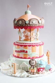 http://www.facebook.com/guiltdesserts #cake #cakedecorating #pretty #cute #carousel #whimsical #fondant #guiltdesserts