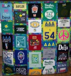 My granny is making me a quilt with all of the t shirts I had from being a Tri Delta.  She is also making a pillow case out of the pockets from tees.