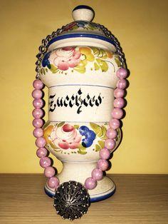 Collana lunga ceramica lilla e catena lavorata  In vendita 20€