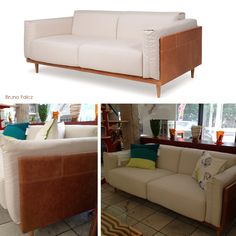 Sofá Mole Designer: Bruno Falcz Material: madeira, couro e tecido Medidas: 201 X 94 X 75 Opções de medidas e tecidos http://www.marcheartdevie.com.br/produtos/sofas/sofa-mole/