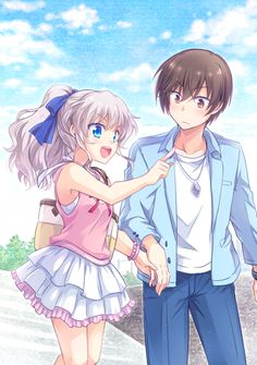 Anime picture 700x995 with  charlotte key (studio) tomori nao otosaka yuu kousetsu long hair tall image short hair blush blue eyes open mouth brown hair smile brown eyes bare shoulders sky ponytail silver hair holding hands happy