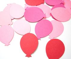 100 Mixed Red Pink Balloon Punch Die Cut Cutouts Confetti Scrapbooking Embellishments - No433