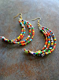 African Glass Bead Earrings Maasai Inspired by KheperaAdornments Beaded Earrings Patterns, Seed Bead Earrings, Boho Earrings, Beaded Jewelry, Beaded Necklace, Stud Earrings, Fringe Earrings, Necklace Set, Seed Beads