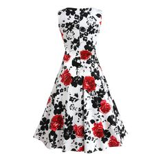 EZcosplay Women Classy Vintage Floral Spring Hepburn Style Garden Party Dress *** Be sure to check out this awesome product. (This is an affiliate link) Pin Up Dresses, Plus Size Dresses, Dresses For Sale, Summer Dresses, Picnic Dress, Vintage Party Dresses, Thing 1, Cocktail, Retro Dress
