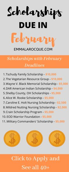 scholarships with February 2020 deadlines. Scholarships for seniors, for juniors, for women, and High School Scholarships, Scholarships For College Students, Nursing Scholarships, Miami University, Budget Planer, Life Hacks For School, College Admission, Scholarship Applications, Thing 1