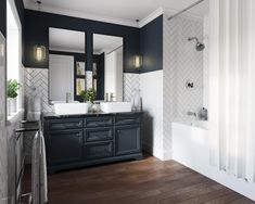 Revamped double vanity in classic blue and white color scheme x [OC] [CGI Render] : RoomPorn Bathroom Interior Design, Decor Interior Design, Interior Decorating, Bad Inspiration, Bathroom Inspiration, Bathroom Trends, Bathroom Renovations, Dark Blue Bathrooms, Bathroom Grey