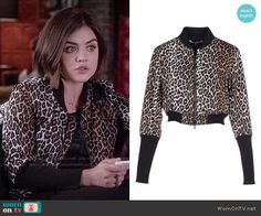 Aria's leopard print bomber jacket on Pretty Little Liars. Outfit Details: http://wornontv.net/50934/ #PLL