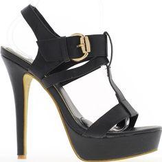 14,5 cm schwarz high Heels Sandaletten. Offset-Effekt eine 4cm-Plattform: 10,5 cm Ferse fühlte. Leder-Optik. Ein breiten verstellbaren Schnalle Riemen hält den Fuß. Ferse Ende. Schuhe Frauen sehr feminin. Synthetische Materialien. Boardgröße: nehmen Sie Ihre übliche Größe Sandalen Frau große Fersen.