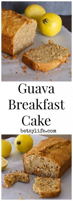 This tropical and fruity Guava Breakfast Cake doubles as breakfast or dessert! It's moist, light, and delicious, and perfect for guava newbies. Cuban Recipes, Sweet Recipes, Recipes With Guava Fruit, Guava Recipes Healthy, Guava Desserts, Tropical Desserts, Vegetarian Recipes, Tropical Fruits, Filipino Recipes