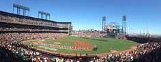 Players begin to line up for pregame festivities at Game 3 of baseball's NL Division Series game between the San Francisco Giants and Washington Nationals at AT&T Park in San Francisco, Calif., as seen in this panoramic photo made with an iPhone. (Jose Carlos Fajardo/Bay Area News Group)