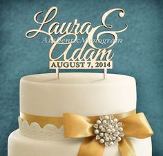 """Check out 5"""" Wooden Unpainted Cake Topper Custom NAMES & DAY to REMEMBER Monogram - Wedding, Initial, Celebration, Anniversary, Special Occasion (4104 on monogramcustomart"""